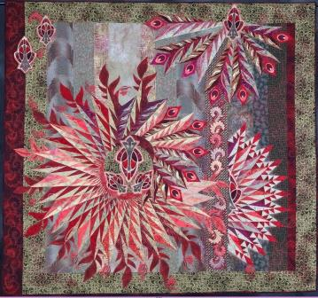 Red Feathers - Best of Show Road to California 2013. Made by Claudia Clark Myers. Quilted by Marilyn Badger.
